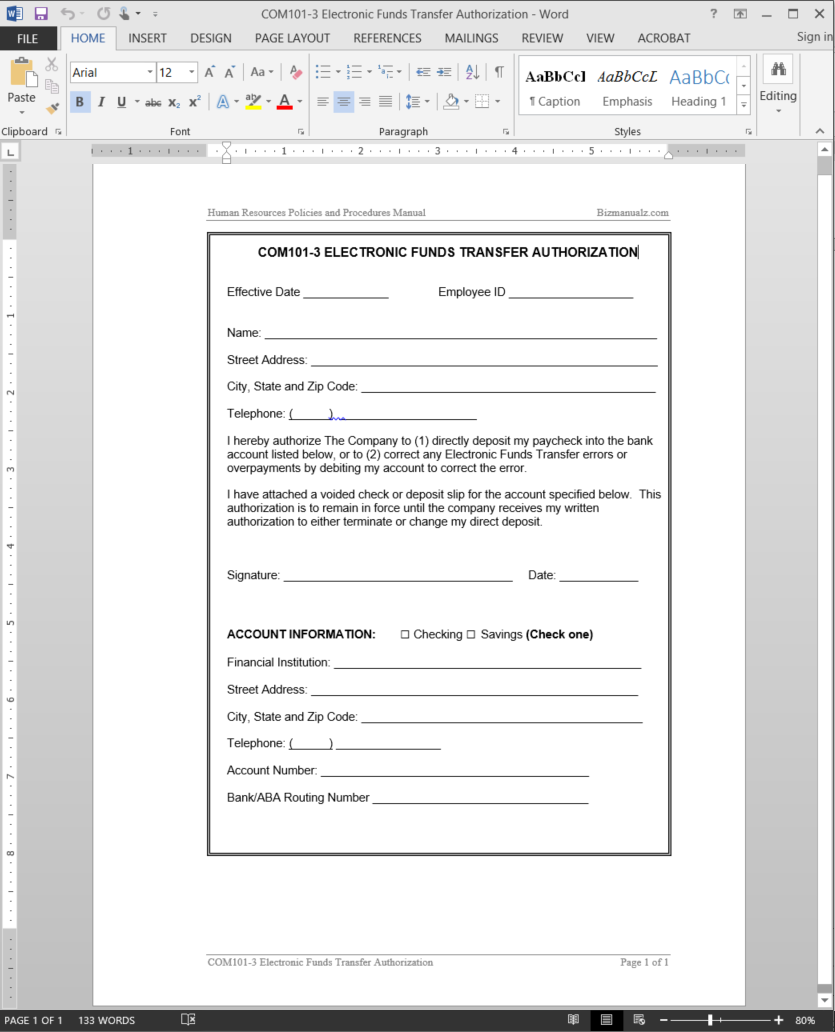 Electronic Funds Transfer Authorization Template