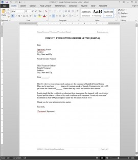 COM107-1 Stock Options Exercise Letter Template