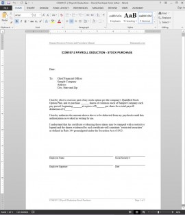 COM107-2 Payroll Deduction Stock Purchase Letter Template