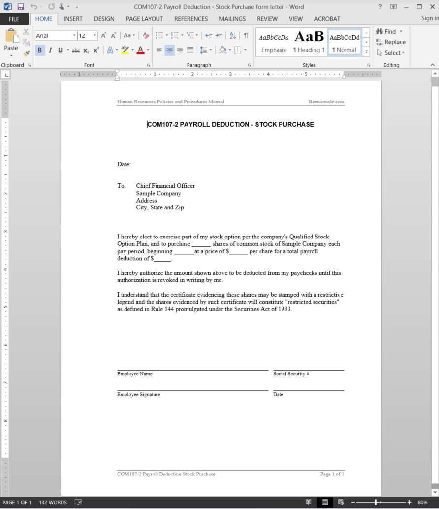 Payroll Deduction Stock Purchase Letter Template