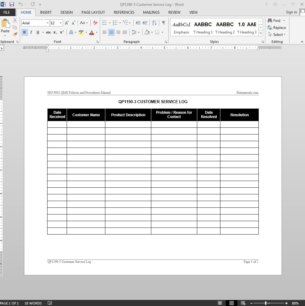 Customer Service Log ISO Template  Customer Contact Information Form