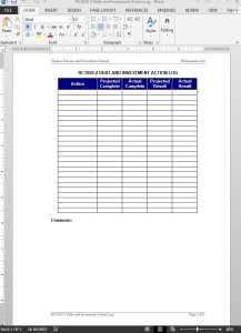 Debt Investment Action Log Template