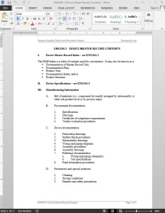 Device Master Record Contents Template