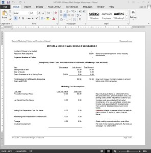 Direct Mail Budget Worksheet Template