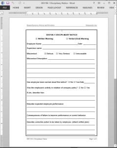 Disciplinary Notice Template
