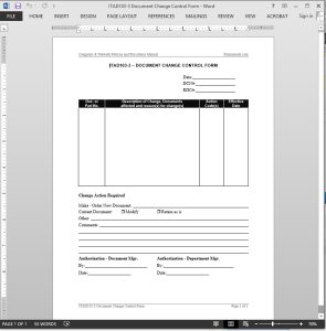 IT Document Change Control Request Template