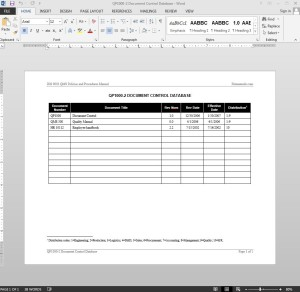 Document control log iso template for Document control database template