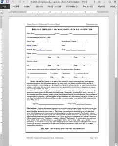 Employee Background Check Authorization Template