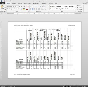 Employee Competence Matrix ISO Template