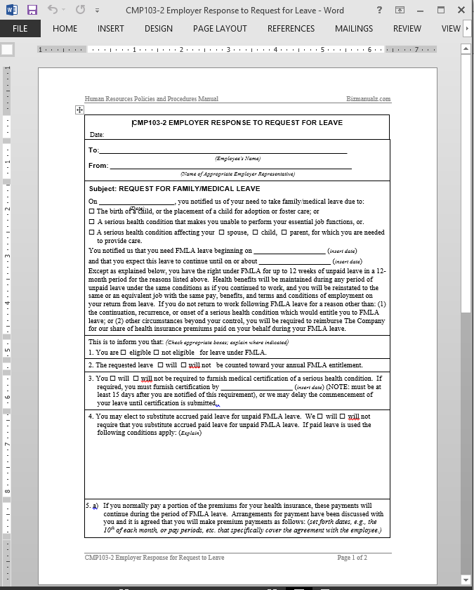 Request For Leave Employer Authorization Template – Request for Leave Template