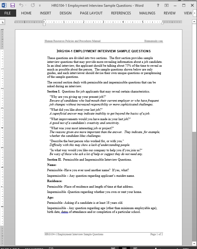 Job Interview Questions Template  Interview Questions