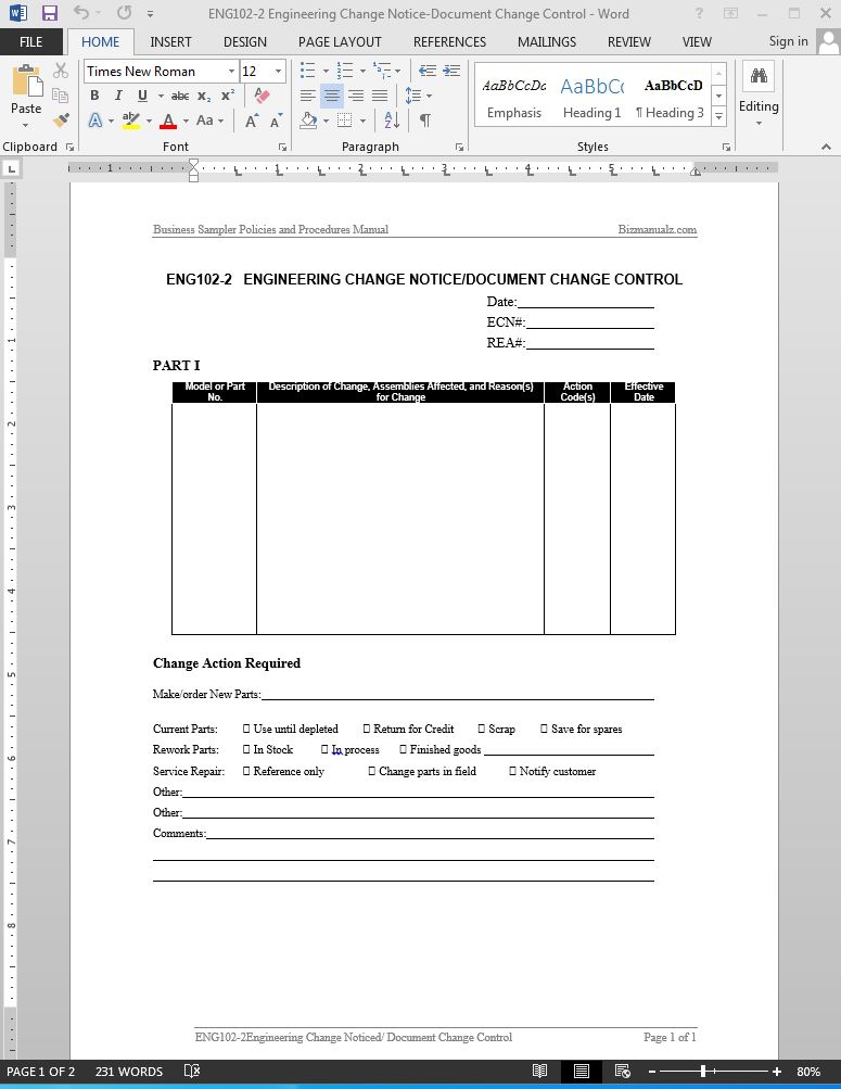 change management process document template - engineering change request engineering change notice