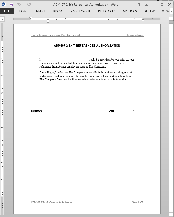 Exit References Authorization Template
