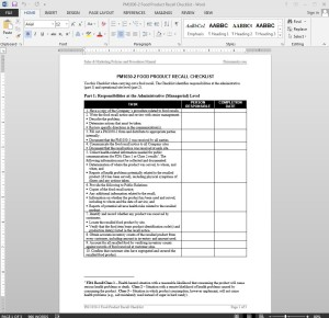 Food Product Recall Checklist Template