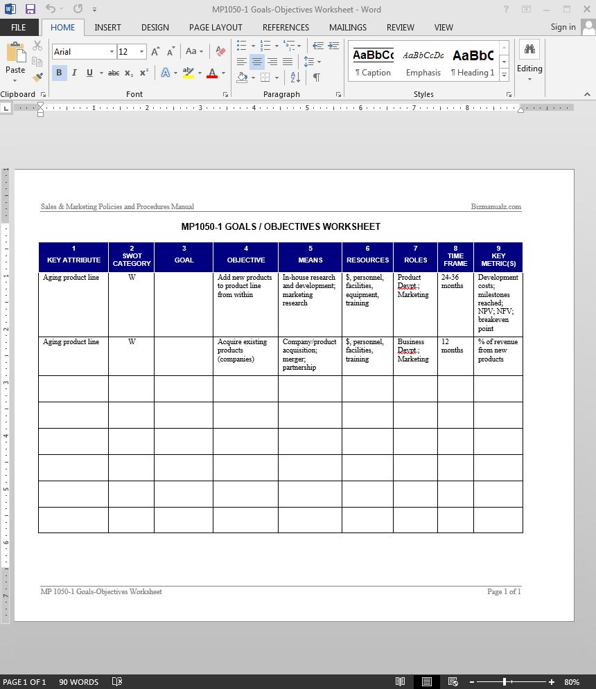 Goals objectives worksheet template for Performance objective template