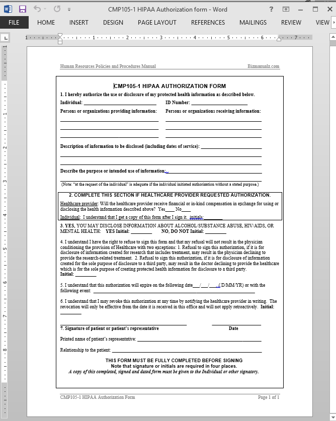 Hipaa Authorization Template