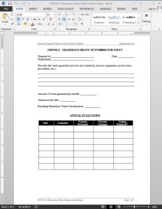 Hazardous Waste Determination Worksheet Template