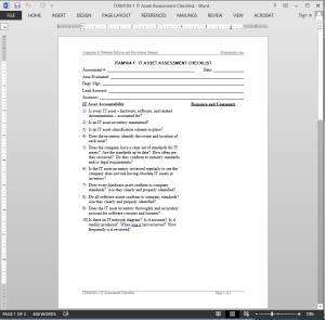 IT Asset Assessment Checklist Template | ITAM104-1