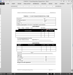 IT Asset Requisition-Disposal Request Template
