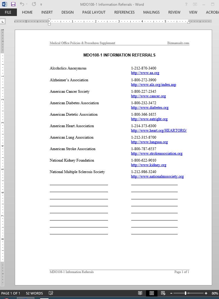 information referrals list template