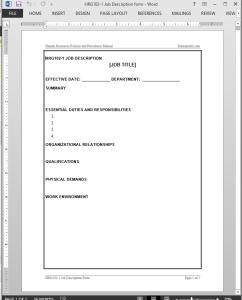 Job Description Worksheet Template