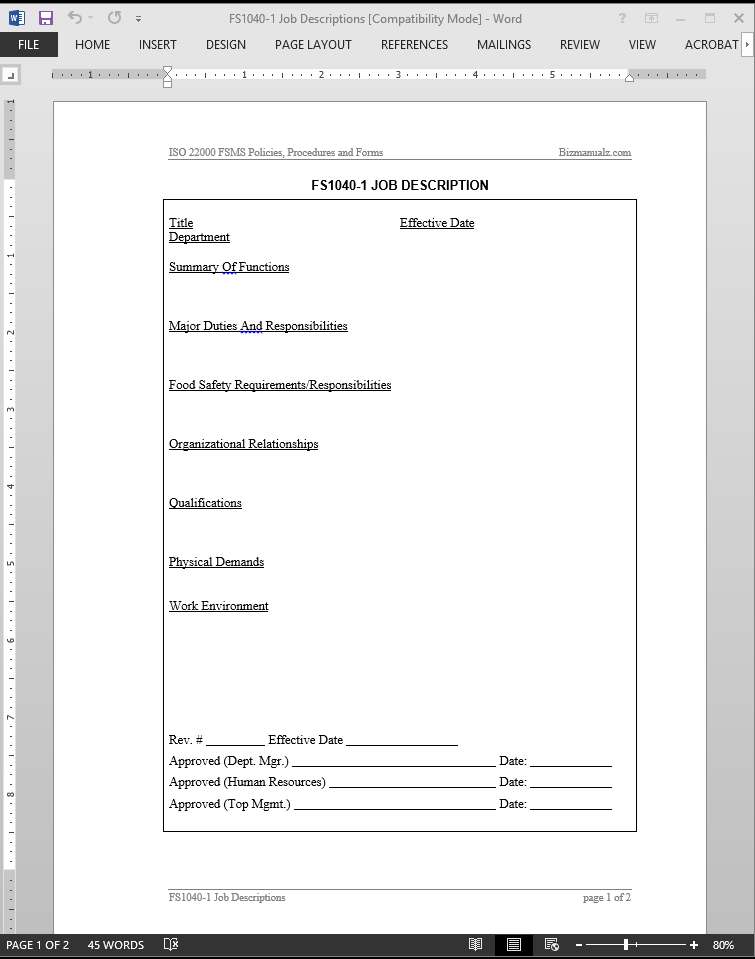 fsms job description template
