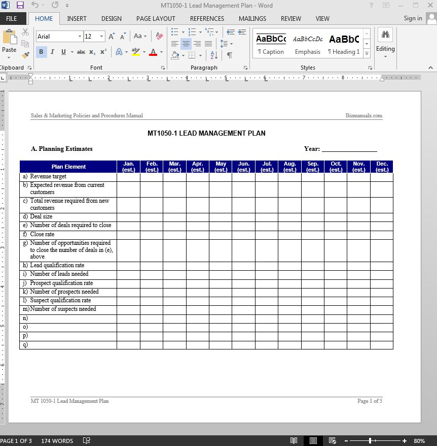 Lead management plan template for Client management plan template