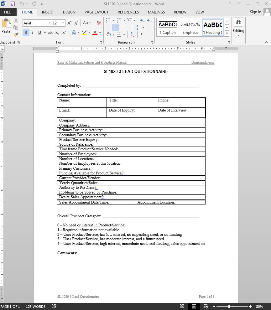 company questionnaire template