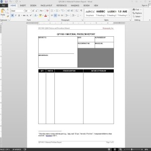 Material Problem Report ISO Template