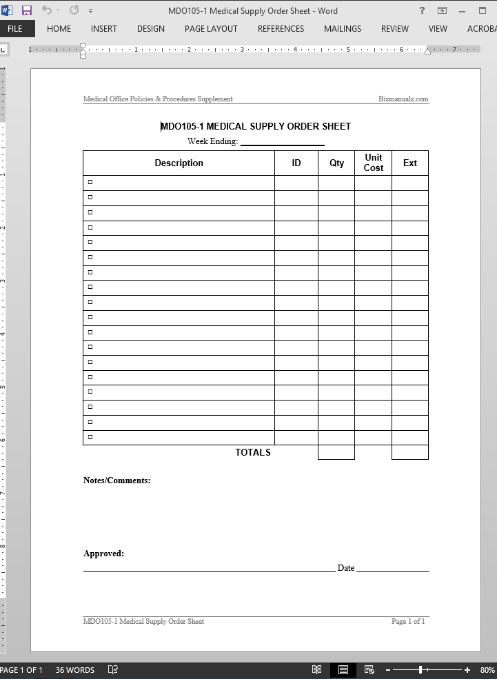 Medical supply order worksheet template for Equipment order form template