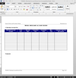 Merchant Account Report Template