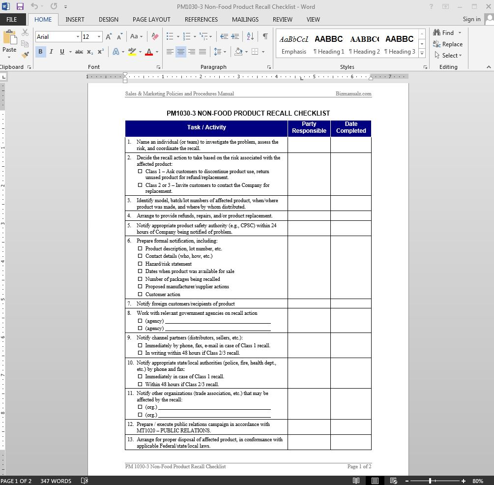 Non Food Product Recall Checklist Template  Product Manual Template