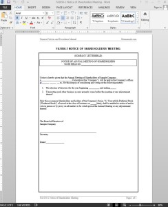 Shareholders Meeting Notice Template