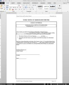 Shareholders Meeting Notice Template