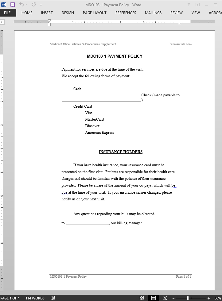 How to write a procedure manual for an office loshek for Policy and procedure template for medical office