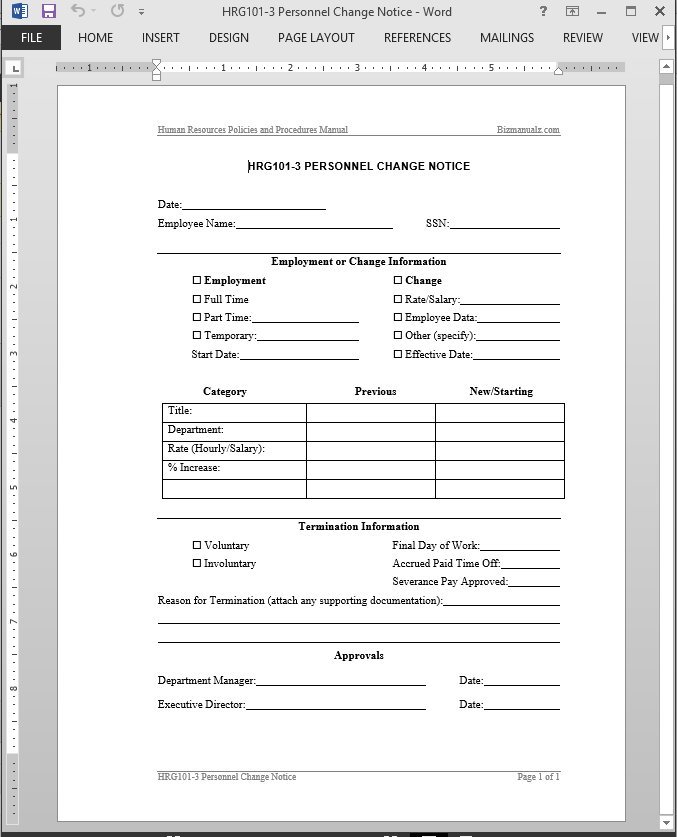 Personnel change notice template for Payroll change notice form template