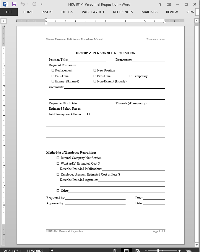 Elegant Personnel Requisition Template
