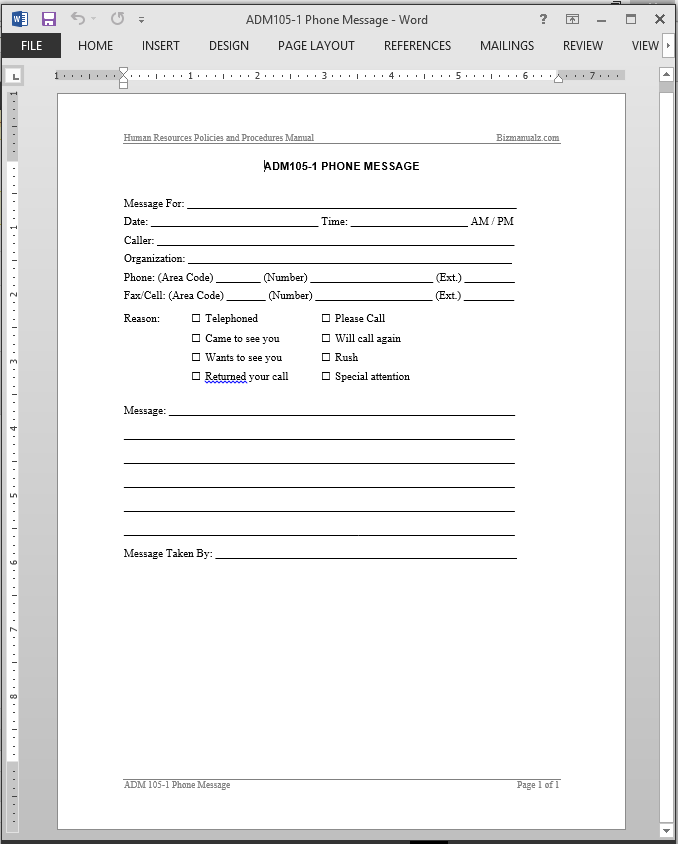 Phone message template for Telephone memo template