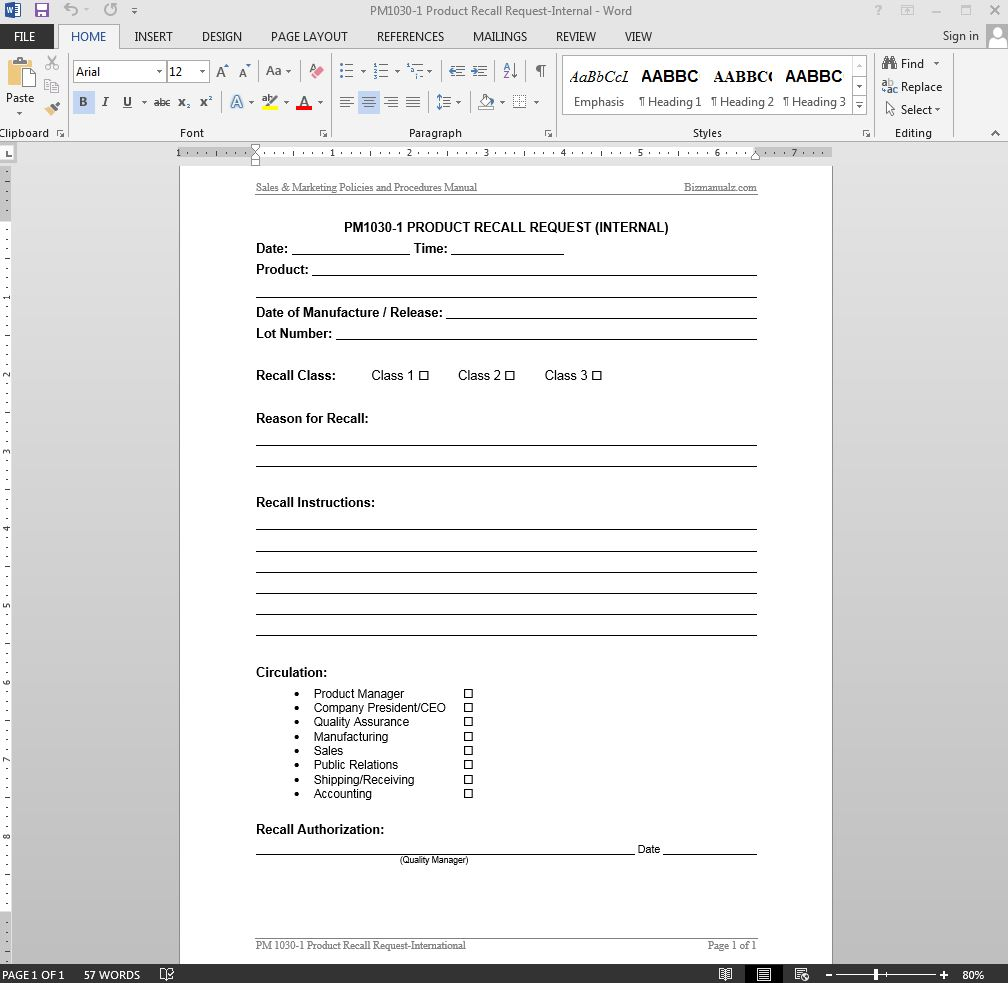 Internal Product Recall Request Template