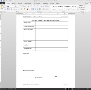 Product Release Authorization ISO Template