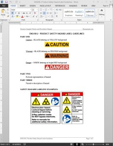 Product Safety Hazard Label Guide Template
