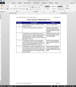 Prospect Management Plan Template