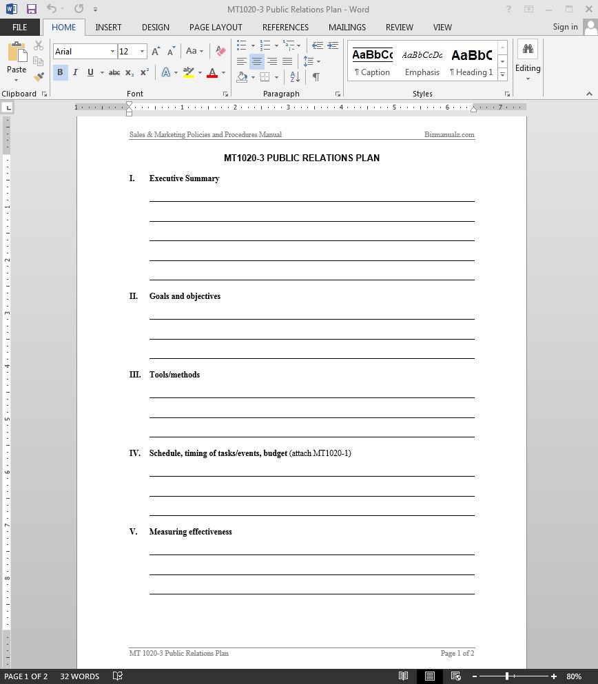 public relations plan template