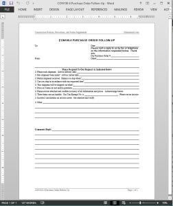 Project Purchase Order Follow-Up Template