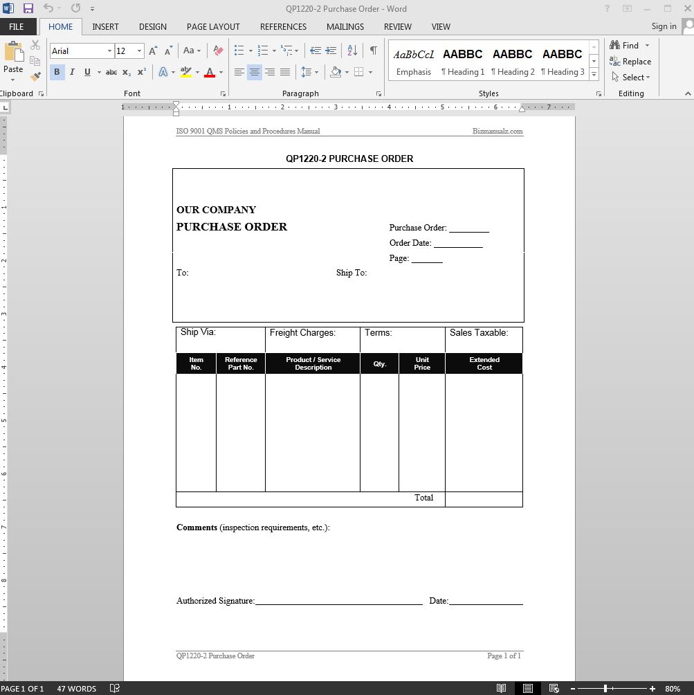 Purchase Order ISO Template  Purchase Order Template Microsoft Word