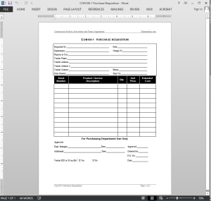 Project Purchase Requisition Template