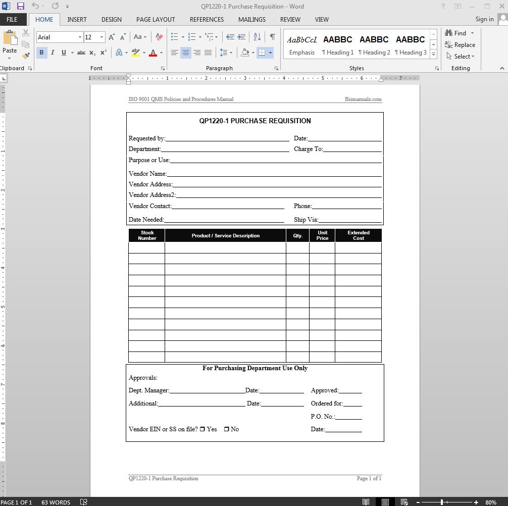 Purchase Requisition ISO Template  Format Of Purchase Order Form