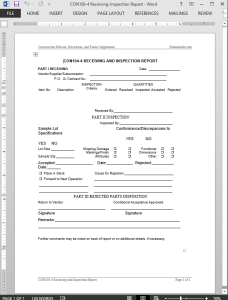 Receiving-Inspection Report Template