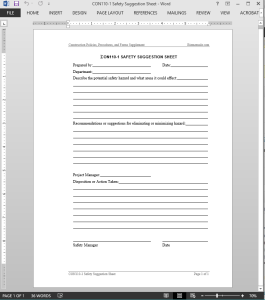 Project Safety Suggestion Worksheet Template