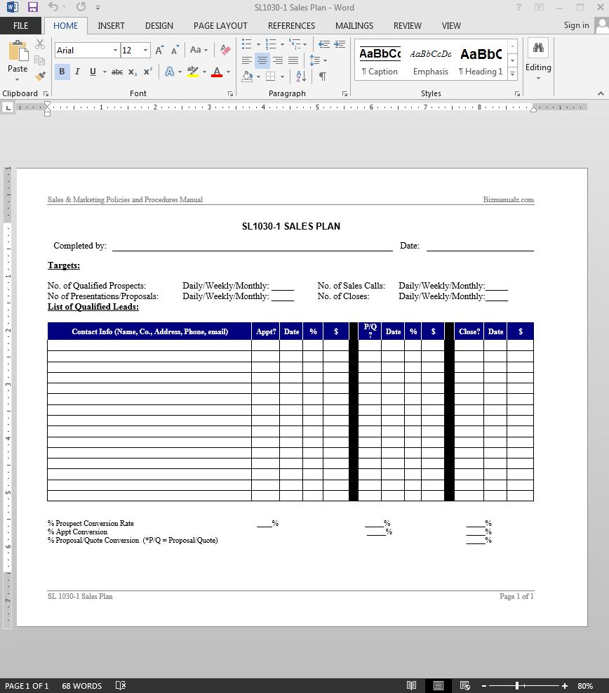 Sales Plan Template Details  Contact Details Template
